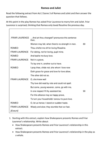 Romeo and Juliet Practice Question AQA English Literature Paper 1