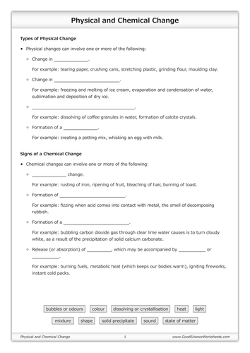 Physical and Chemical Change Worksheet by GoodScienceWorksheets – Worksheet on Chemical Vs Physical Properties and Changes