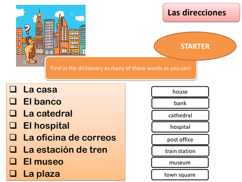 directions spanish ks3 lesson game by josecarloscirera teaching resources. Black Bedroom Furniture Sets. Home Design Ideas