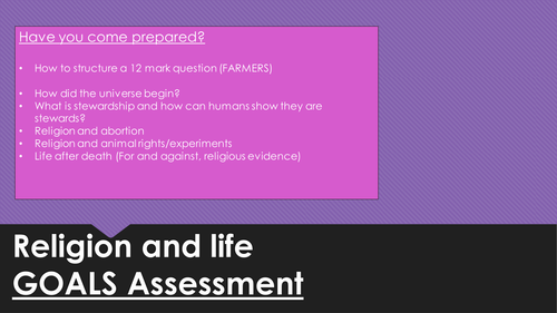 Religion and life new AQA GCSE mock assessment lesson
