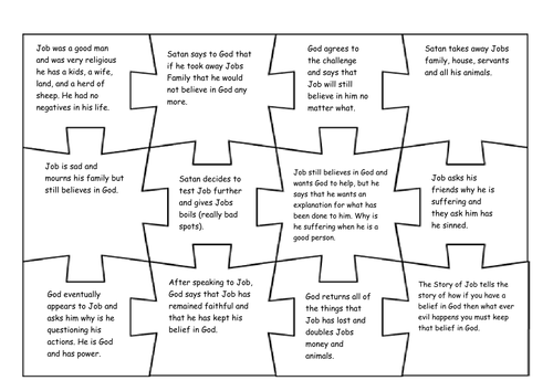 Story of Job Jigsaw activity