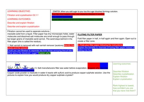 Filtration and crystallisation OCR gateway GCSE chemistry / science - new spec 1 - 9 ref C2.1f