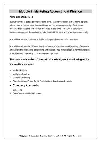 GCSE Business - Business Finance (editable)