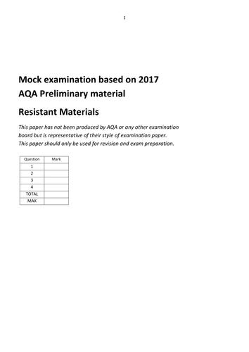 2017 AQA Resistant Materials mock exam
