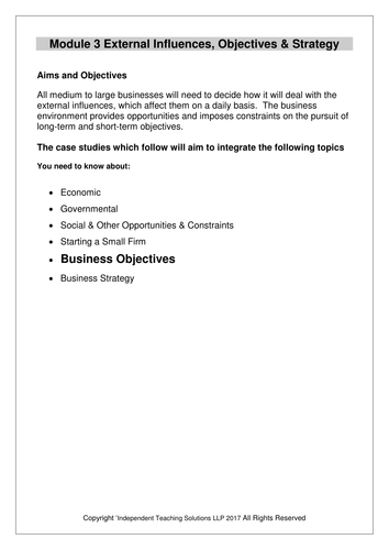 GCSE Business - Business Objectives (editable)