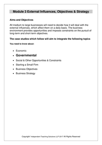 GCSE Business - Opportunities and Constraints - Starting a Small Business  (editable)