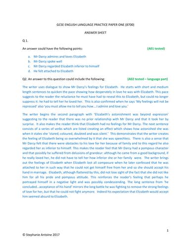 GCSE ENGLISH LANGUAGE PRACTICE PAPER ONE (3) ANSWER SHEET
