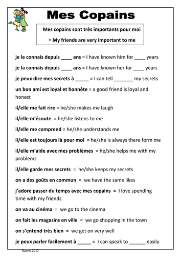 French - Friends Vocabulary Sheet (Mes copains/Mes amis)