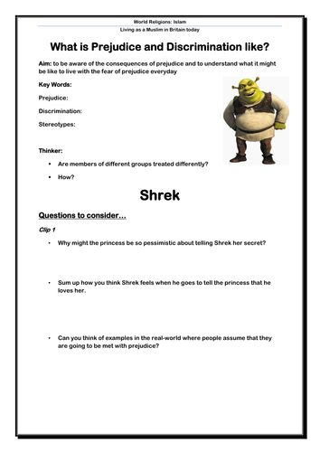 prejudice and discrimination using shrek pupil worksheet by eageorge teaching resources tes. Black Bedroom Furniture Sets. Home Design Ideas