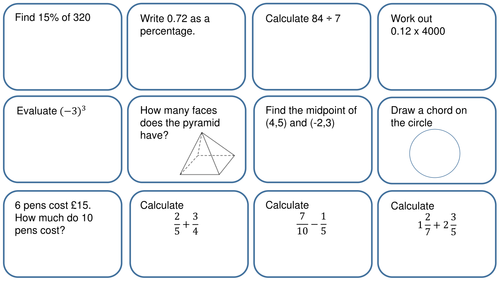 Revision mat 36 questions Foundation GCSE (1 and 2 mark questions)