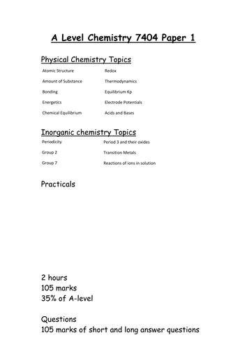 AQA A level Chemistry paper 1 checklist