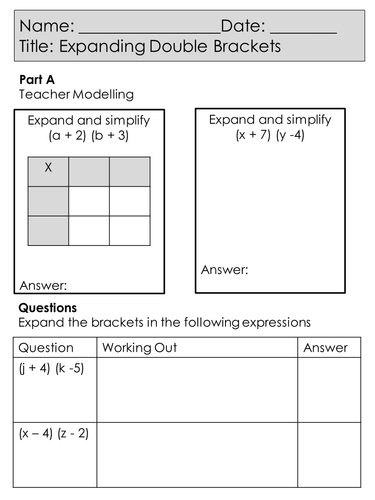 4 Worksheets - New GCSE Mathematics Specification - Foundation - Expanding Double Brackets