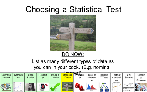 A Level Psychology AQA (New Spec) Research Methods Lesson 4 - Choosing a Statistical Test