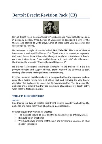 KS5: Brecht For A Level - Full Scheme of Work (Lysistrata)