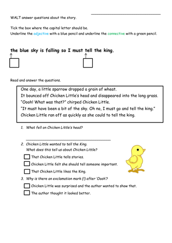 Differentiated Chicken Little Comprehension sheets