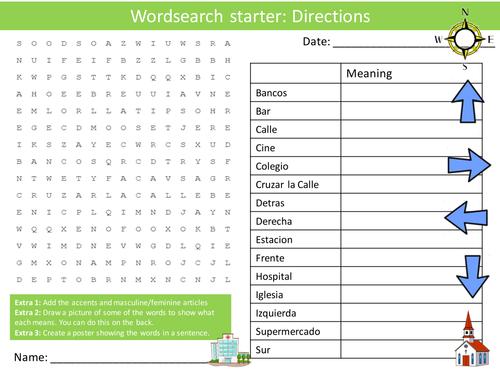Spanish Directions Keyword Wordsearch Crossword Anagrams Keyword Starters Homework Cover