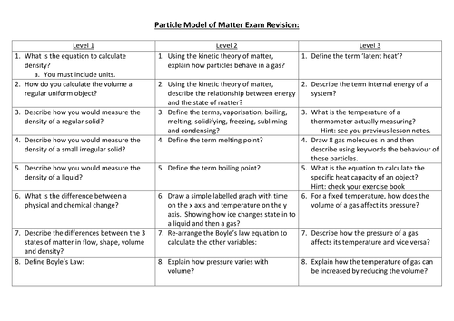 Particle model of matter revision