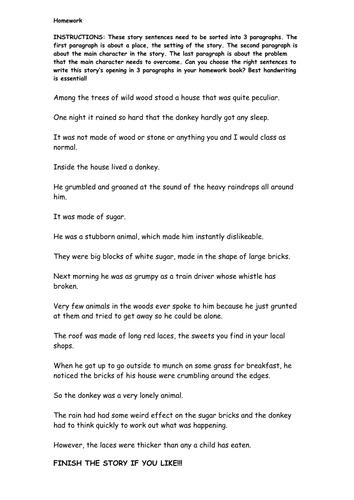 Paragraphs for upper KS2