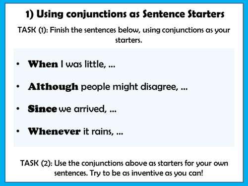 KS2 Writing: Using Conjunctions! Carousel of writing activities