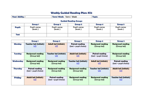 Blank weekly planning template for Guided Reading