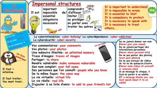 Talking about the pros and cons of the internet/technology in French using impersonal structures