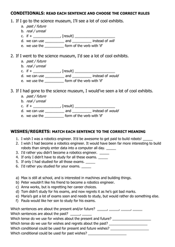 ESL - Worksheet: Grammar - Conditionals and Wishes