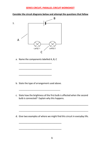 Series And Parallel Circuit Worksheet With Answers By Kunletosin246