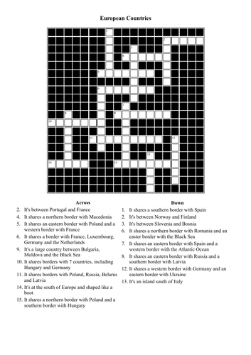 Crossword Puzzle - European Countries (Geography)
