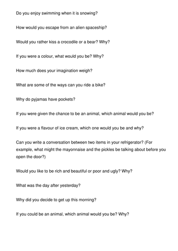 Strange Questions! Conversation for Teens/Adults
