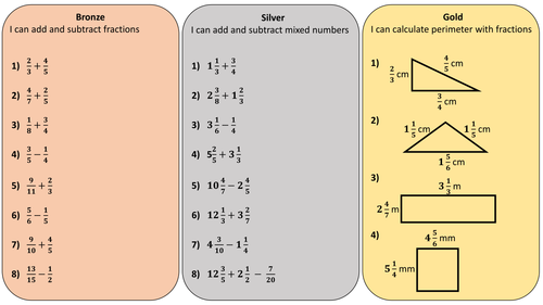 Differentiated worksheet on adding and subtracting fractions including mixed numbers