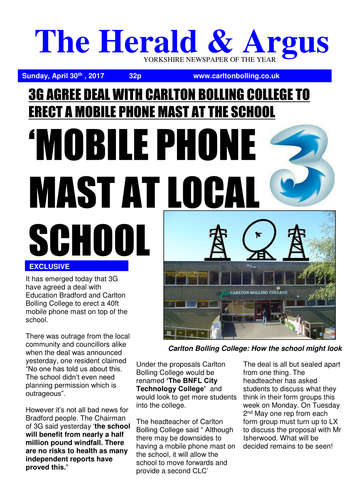 Mobile phone mast at your school (stakeholders)- PSHE Newspaper template