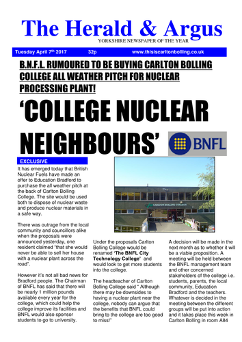 Nuclear College newspaper template (Pressure groups/ Stakeholders)