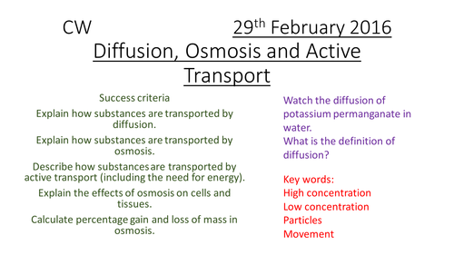 9-1 Transporting Substances - Diffusion, Osmosis, Active Transport