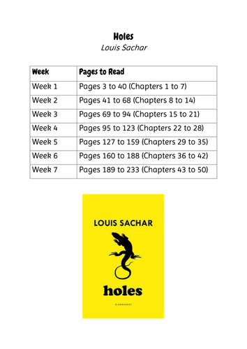 Holes by Louis Sachar - Unit of Work