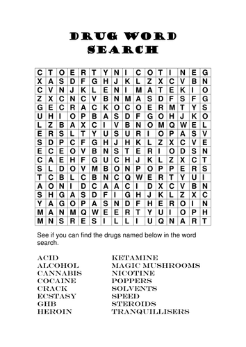 Types of Drink Word Search