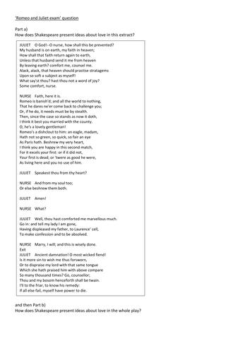 GCSE AQA Literature paper 1 Romeo and Juliet mock exam questions