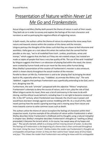 Presentation of Nature within Never Let Me Go and Frankenstein - A Level Comparative Essay