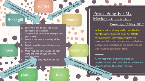 Praise Song For My Mother - Grace Nichols Songs of Ourselves Poetry