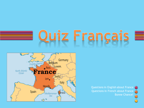 Introductory quiz for French lessons, ready for immediate use, with variety of topics.
