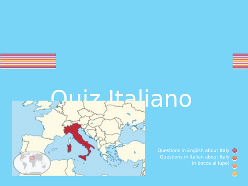 Italian Quiz ideal as an introduction to Italian. Fun, informative and ready for immediate use.