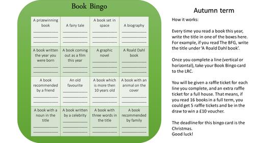 Book Bingo whole school reading incentive