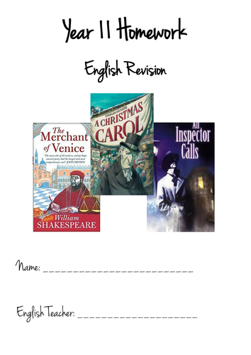 Y11 Booklet - Revising 'The Merchant of Venice', 'A Christmas Carol', 'An Inspector Calls' & Poetry