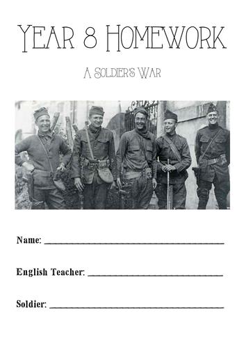 Half Term Homework Booklet - A Soldier's War - Y8