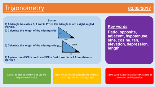 GCSE complete lesson trigonometry angles of elevation and depression