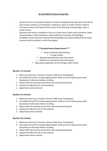 AS Level Media Studies - MEST1 Section A - Exam Structure