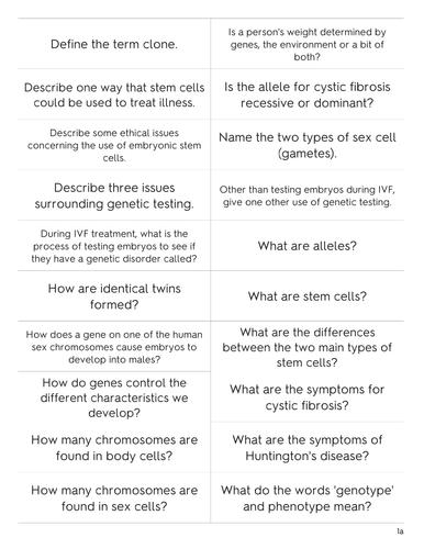 OCR 21st century Biology B1 B2 B3 revision cards