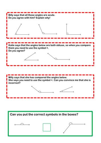 To identify and compare angles (acute, obtuse, reflex, right angles)