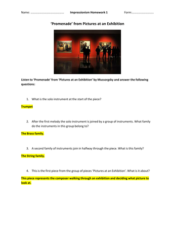 KS3 Impressionism listening tasks / homeworks - Pictures at an Exhibition