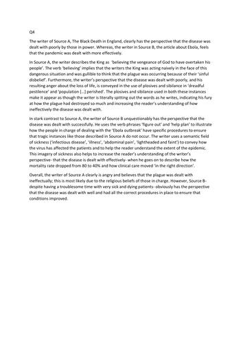 GCSE AQA Language Paper 2 Q4 exemplar response - comparison of 2 non fiction texts
