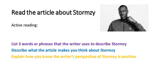 KS3 AQA language paper 2 Q4 skills non fiction  Comparison of perspectives Stormzy text included